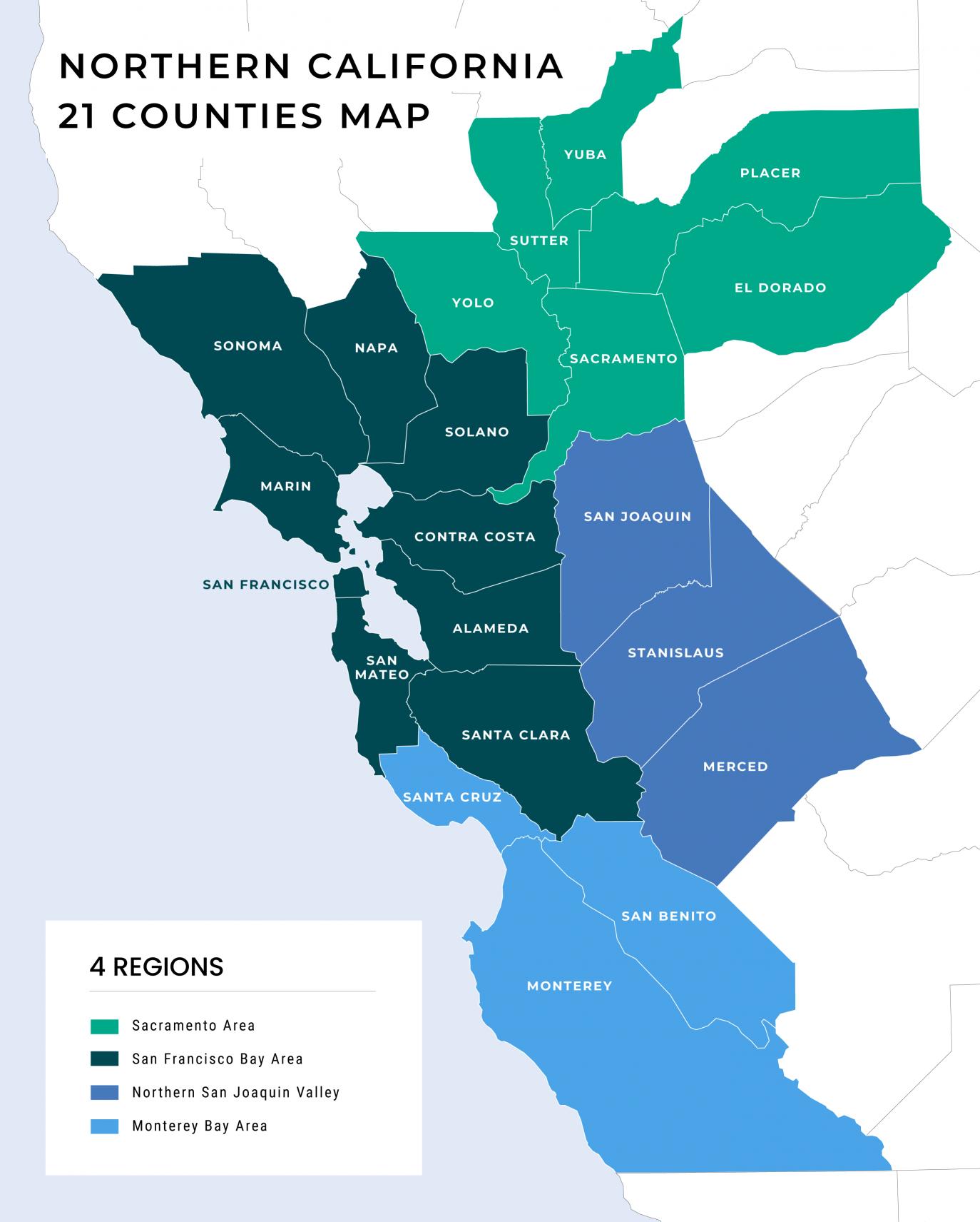Mapa de los 21 condados del Norte de California